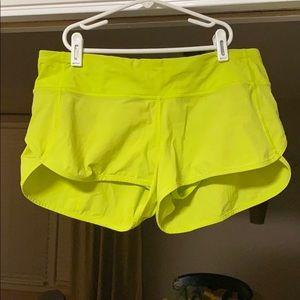 Women's Lululemon Speed Shorts.